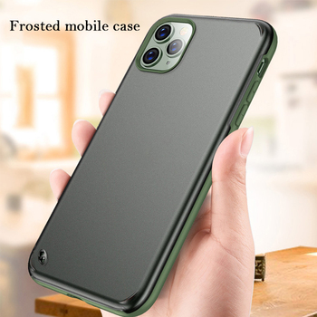 Camera Protection Contrast Color Bumper Phone Cases For iPhone11 11 Pro Max Pure Color Frosted Transparent Shockproof Back Cover tanie i dobre opinie Pół-owinięte Przypadku Apple iphone ów Iphone a 11 Pro MAX iphone 11 pro Matowy Przezroczysty Odporna na brud Anti-knock