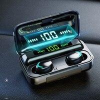 Auriculares TWS inalámbricos por Bluetooth V5.0, auriculares IPX7 de música estéreo 9D impermeables Táctiles con batería de larga duración de 2200mAh