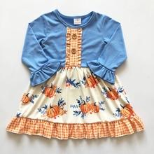 high quality cotton  Fashion halloween girls clothing boutique kids pumpkin baby dress