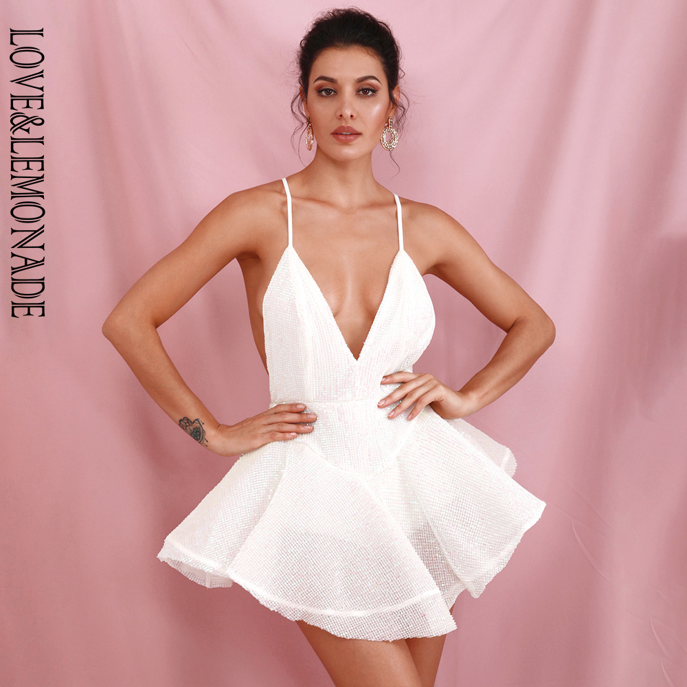 LOVE&LEMONADE Sexy White Deep V-Neck Open Back Ballet Style Sequins Playsuit LM81619 NAVY LM81619