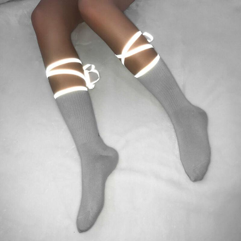 Women's Socks Cute Female Over Ankle Calf Lacing Reflective Sock Students Females School Socks Korean Style Cotton Blend