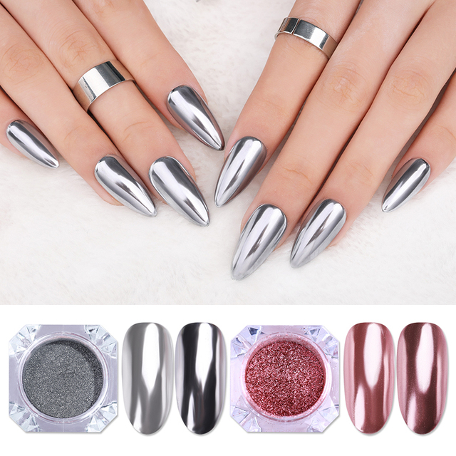 1 Box Mirror Nail Powder Glitter Dust Metallic Colorful Glitter Metal Effect N0ail Art UV Gel Polish Chrome Pigment Dust Powder 2