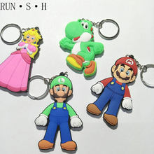 Cute Cartoon Mario Brothers Keychain Super Mary Princess Keychain High Quality PVC Demon Slayer Pendant Doll Keychain Gift(China)