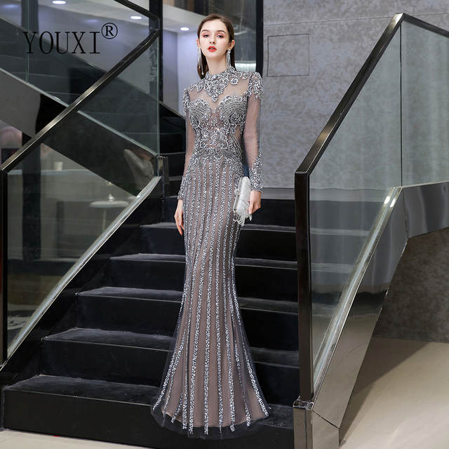 Dubai Luxury Mermaid Evening Dress 2020 Gorgeous Gray High Neck Beaded Beading Rhinestones Crystal Long Sleeve Formal Gown