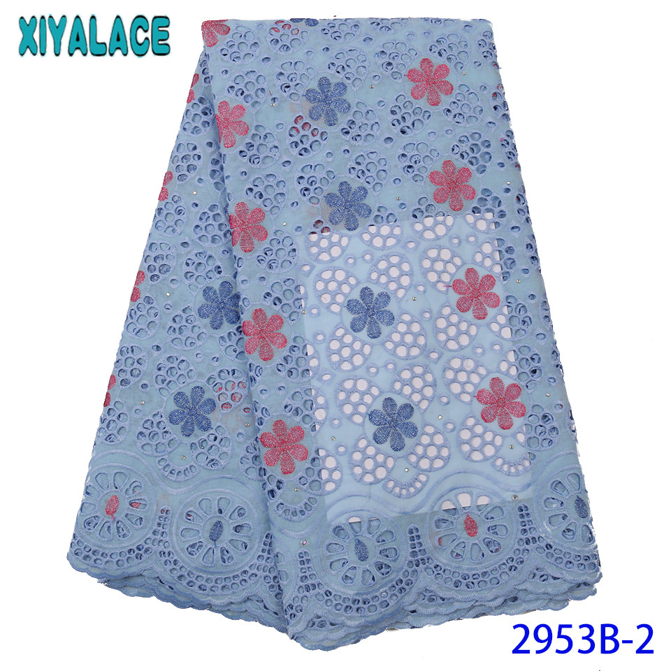 Latest High Quality Fabric Lace 2019, Cotton Lace Fabric With Stones,Embroidery Swiss Voile Lace Fabrics For Women KS2953B-2