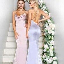 Bridesmaid Dress Satin New Stretch Custom Long-Scoop Landing