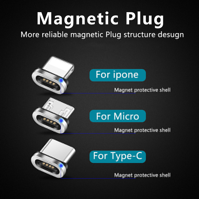 Round Magnetic Plug Micro USB C / Type C / 8 Pin For iPhone Adapter USB Magnet Charger Plug Fast Charging (Only Magnetic Plug) 5