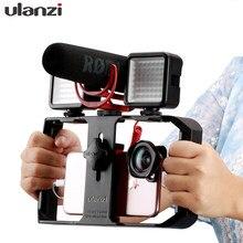 Ulanzi u rig pro alça rig triplo quente sapato montagens vídeo estabilizador vlog grip para iphone móvel cineasta para microfone