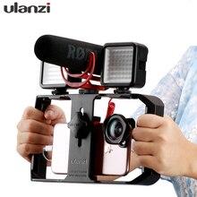 Ulanzi U Rig Pro Maniglia Rig Triple Hot Shoe Supporti Video Stabilizzatore Vlog Grip per iPhone Mobile Regista per il microfono