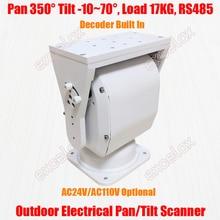 Heavy Duty 17KG obciążenie IP66 elektryczny Pan Tilt skaner dekoder urządzenie PTZ poziomy pionowy odkryty RS485 kamera telewizji przemysłowej wsparcie