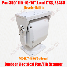 Resistente 17 kg de carga ip66 pan tilt scanner elétrico decodificador dispositivo ptz vertical horizontal ao ar livre rs485 cctv câmera apoio