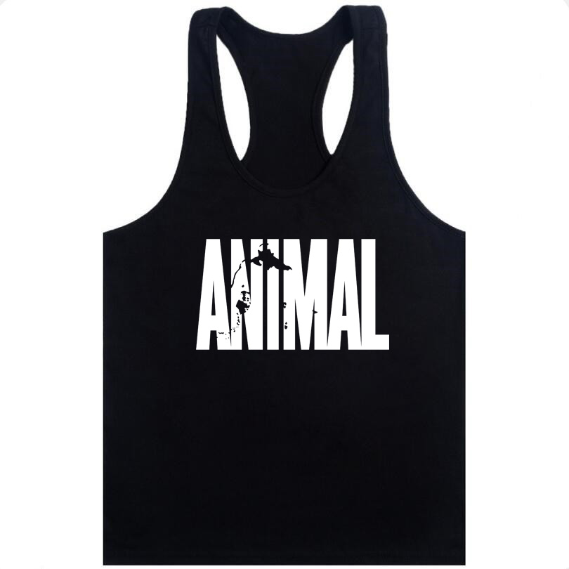 2019 New Brand Arrival Men Gym Muscle Bodybuilding Sleeveless Shirt Hot Sale Tank Top Singlet Fitness Sport Print Vest Black