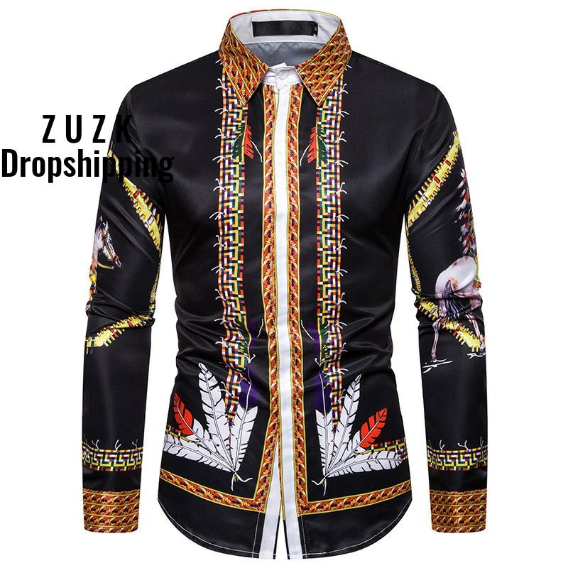 2020 Top Quality Court Style Retro Design Men's Long-sleeved Shirt Casual Feather Print Men's Shirt