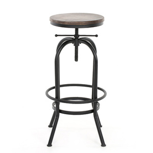 iKayaa Bar Stool Industrial Style Bar Chair Height Adjustable Swivel Bar Stools Natural Pinewood Top Kitchen Dining Chairs