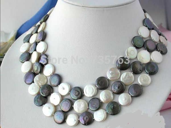 Nuevo N713 3ROW 14MM blanco negro moneda FW perla collar magnético