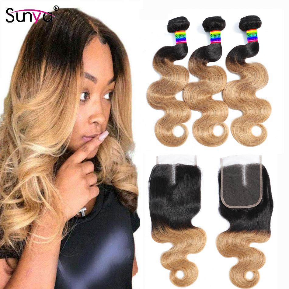 Pacotes peruanos do cabelo humano com fechamento ombre pacotes com fechamento 1b/27 pacotes da onda do corpo com fechamento 3 pces 4x4 fechamento sunya