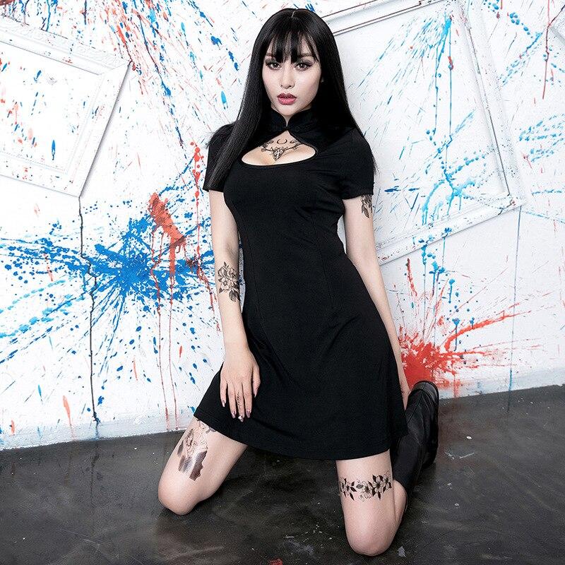 LMCAVASUN Goth Dark Black Elegant Dress Female Gothic Summer Hollow Out Hole Patchwork Sexy Dress Harajuku Fashion Punk Dresses