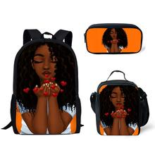 HaoYun Kids Backpack Girls for School Black Art African Design Bagpack Children 3pcs/set Schoolbag Bookbag Mochila Escolar
