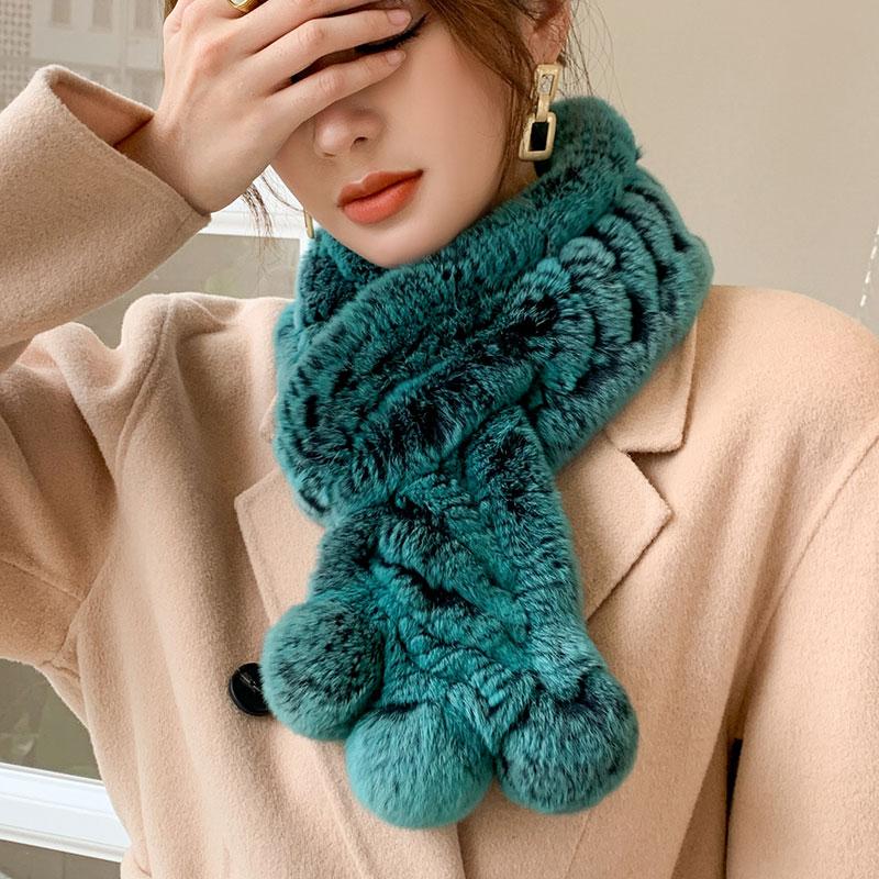 Temperament emerald green rex rabbit fur double-sided woven fur scarf women to keep warm in winter real fur collar fur collar