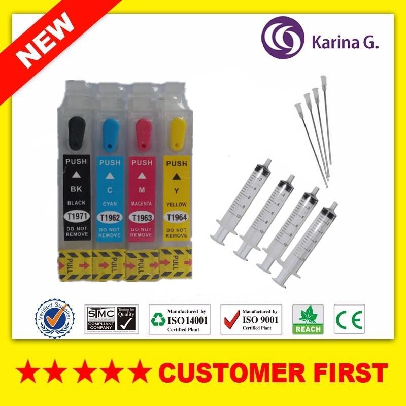 1set  Refillable Cartridge For T1971 T1962 T1963 T1964 With  Chip Suit For Epson XP201 XP211 XP204 XP401 XP214