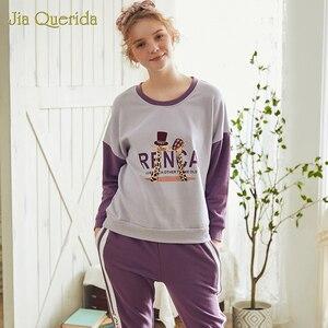 Image 5 - New Spring Pajama Set Cartoon Printing Plus Size Loungewear Women Crew Neck Pijamas Women Homesuit Homeclothes Pjs Women Pj Set