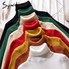 Stretch swetry damskie swetry z golfem miękka koszulka z długim rękawem koreański slim-fit obcisły sweter 2019 jesienno-zimowa solidna tanie tanio syiwidii Akrylowe Acrylic Mieszkanie dzianiny Stałe REGULAR BJD20870605 Pełna NONE STANDARD Brak Kobiety Na co dzień