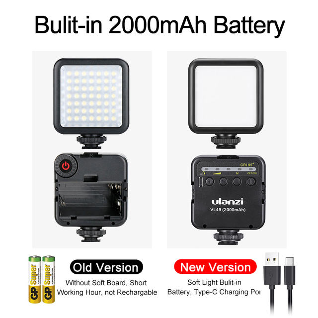 Ulanzi VL49 6W Mini LED Video Office Light 2000mAh 5500K Zoom Lighting Photographic Lighting U Bright Vlog Fill Light 3