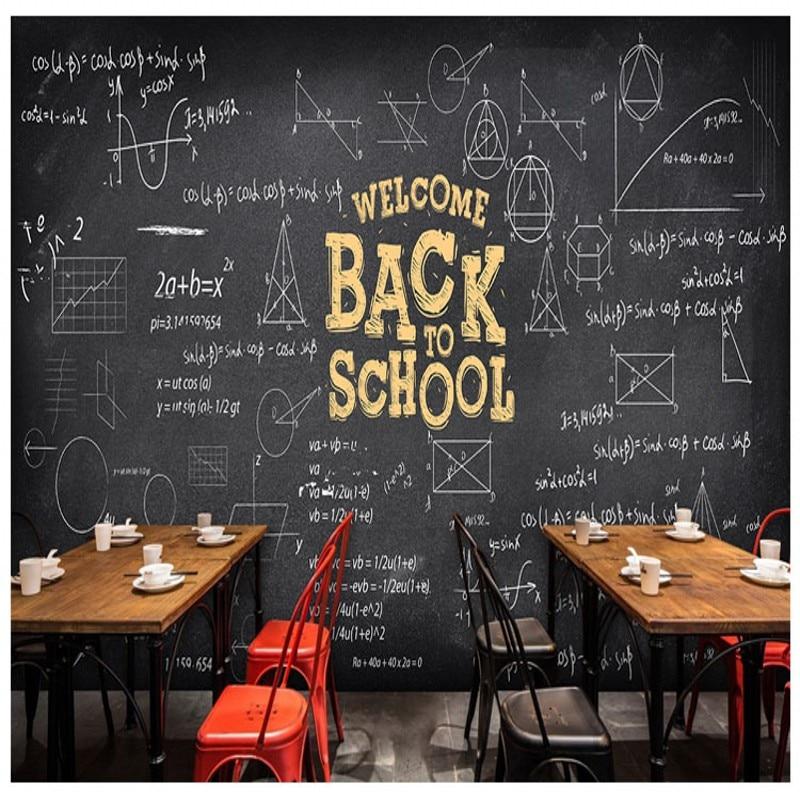 Drop Shipping  Photo Wallpaper Custom Hand Painted Blackboard Chalk Formula Wallpaper 3d Cafe Milk Tea Shop KTV Box Theme Mural