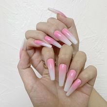 24pcs Long Press On Nails Coffin Gradient Powder Color Wear With Finished Product Wearable Full Cover fake long fingernails