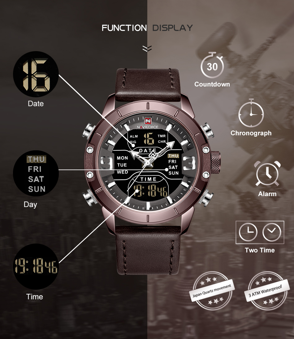 NAVIFORCE Mens Watches Top Brand Luxury Army Military Leather Mens Wristwatch Waterproof Digital Quartz Sports Watches Relogio (2)