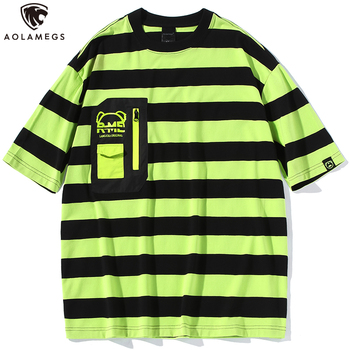 Aolamegs Men T Shirt Striped Print Print Hit Color Oversized T-shirt Harajuku Hipster Short Sleeve Tops Tees Streetwear Summer