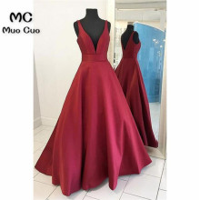 Prom-Dresses Prom-Gown Evening-Dress Satin Burgundy Elegant Long Tank Long-Tank-Pockets