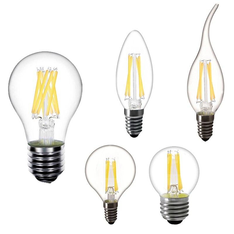 Светодиодный светильник в ретро-стиле, E14 C35, диодные свечи, круглые лампы E27 G45, декоративный энергосберегающий светильник для гостиной