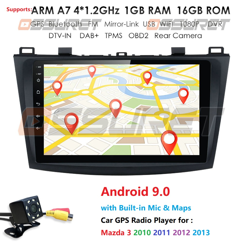 2 Din Android 9 Car Multimedia Radio Player For <font><b>Mazda</b></font> <font><b>3</b></font> Mazda3 2004-2013 <font><b>Navigation</b></font> Autoradio Tape Recorder <font><b>GPS</b></font> WIFI DVR SWC DAB image
