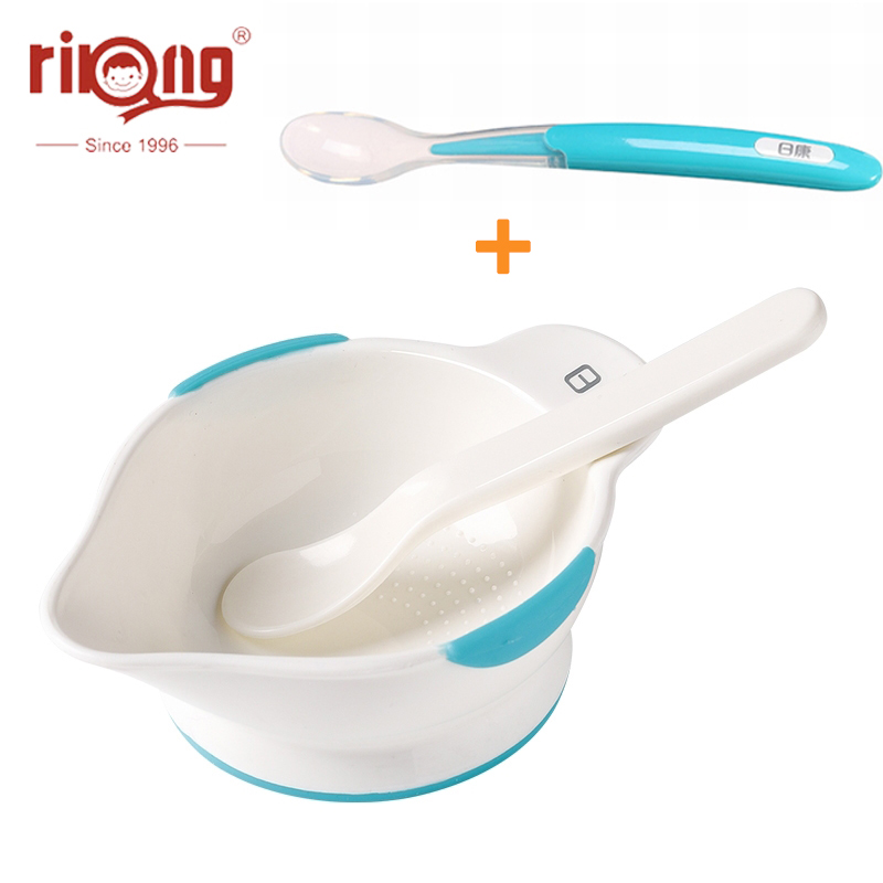 Rikang Safety Baby Food Dishes Kids Learning Dinnerware Silicone Spoon Set Assist Bowl Solid Feeding Tableware Training Bowl