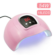 Buy 54W LED Nail Lamp UV Lamp Nail dryer for All Nail Gels 18 LEDs Sun light Infrared Sensing 30/60/90S Dry Gel Polishing directly from merchant!