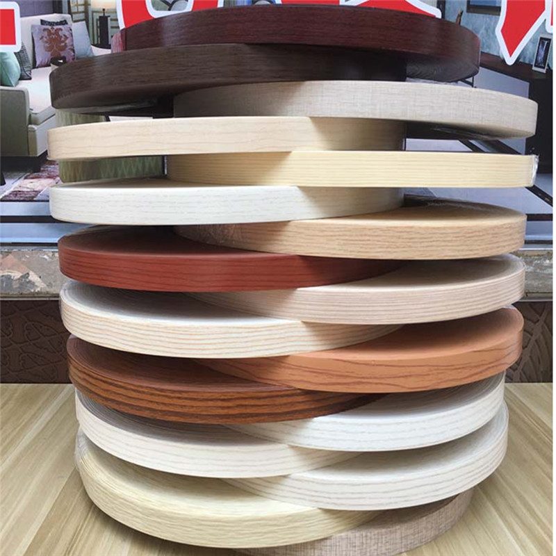 Self Adhesive Furniture Wood Veneer Decorative Edge Banding PVC For Furniture Cabinet Office Table Wood Surface Edging 10m/20m