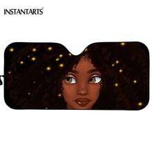 INSTANTARTS Universal Car Windshield Cover African Black Art Girls Afro American Sun Shade Interior Protector Block Sun Durable american interior