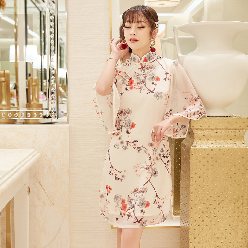 2019 Spring And Summer New Style Women's Chiffon Printed Improved Cheongsam Elegant Fairy Skirt Slim Fit Slimming Dress 19038
