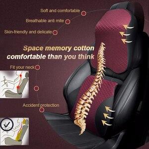 Image 2 - Auto Cuscini di Gomma Piuma di Memoria di 3D Caldo del Collo Dellautomobile del Cuscino DELLUNITÀ di elaborazione di Cuoio Cuscino del Sedile Auto Universale Lombare Sostegno per la Schiena Accessori Auto