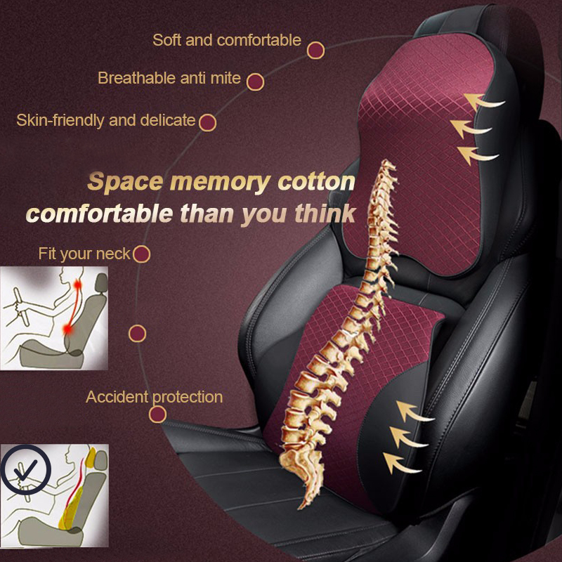 Image 2 - Car Pillows 3D Memory Foam Warm Car Neck Pillow PU Leather Car Seat Cushion Universal Lumbar Back Support Auto Accessories-in Neck Pillow from Automobiles & Motorcycles