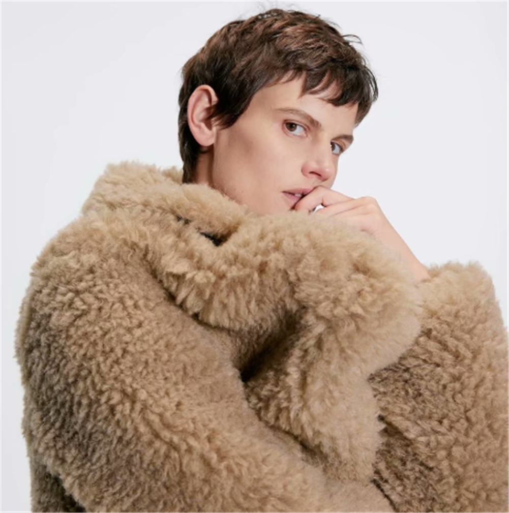 2019 ZA Women's Faux Fur Coat Fashion New Winter Faux Fur Warm Coat Coat Bohemian Slim Fit Faux Cotton Coat Party Gift