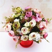 1 unidad de ramo Retro Artificial pequeño de rosas de té de alta calidad de flores falsas para el hogar Decoración para fiesta de boda