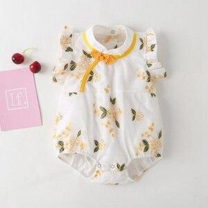 Летний сетчатый костюм с вышивкой для маленьких девочек, детский комбинезон в стиле ретро, Cheongsam, комбинезон в китайском стиле, одежда принц...