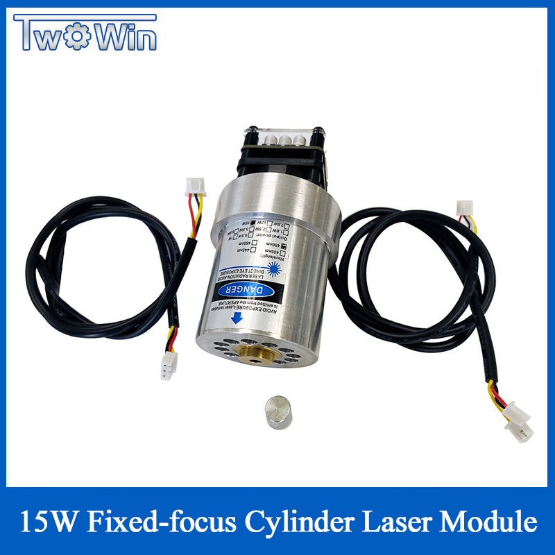 New 15W Fixed-Focus 52mm Cylinder Laser Module Can Engrave On Stainless Steel 15000mw DIY Carving Engraver Accessory With PWM