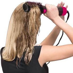 Image 3 - Lisapro Dropshipping 2 IN 1 bir adım saç kurutma makinesi sıcak hava fırça saç düzleştirici tarak Curling fırça saç şekillendirici araçları
