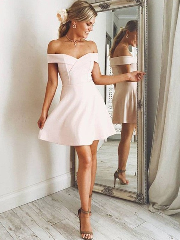 2020 Elegant Sexy Homecoming Dress A-Line/Princess Off-the-Shoulder Sleeveless Satin Short/Mini Dresses For Party