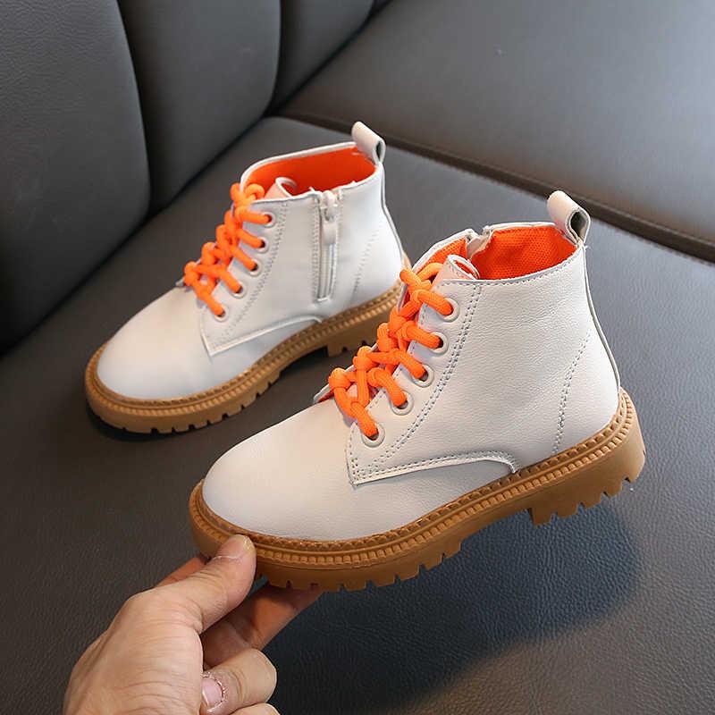 Martin Stiefel Kinder mädchen Schuhe Kinder Jungen Stiefeletten Herbst Candy Farben Weiß Britischen Stil Flache Sohle Anti-Slip SP048