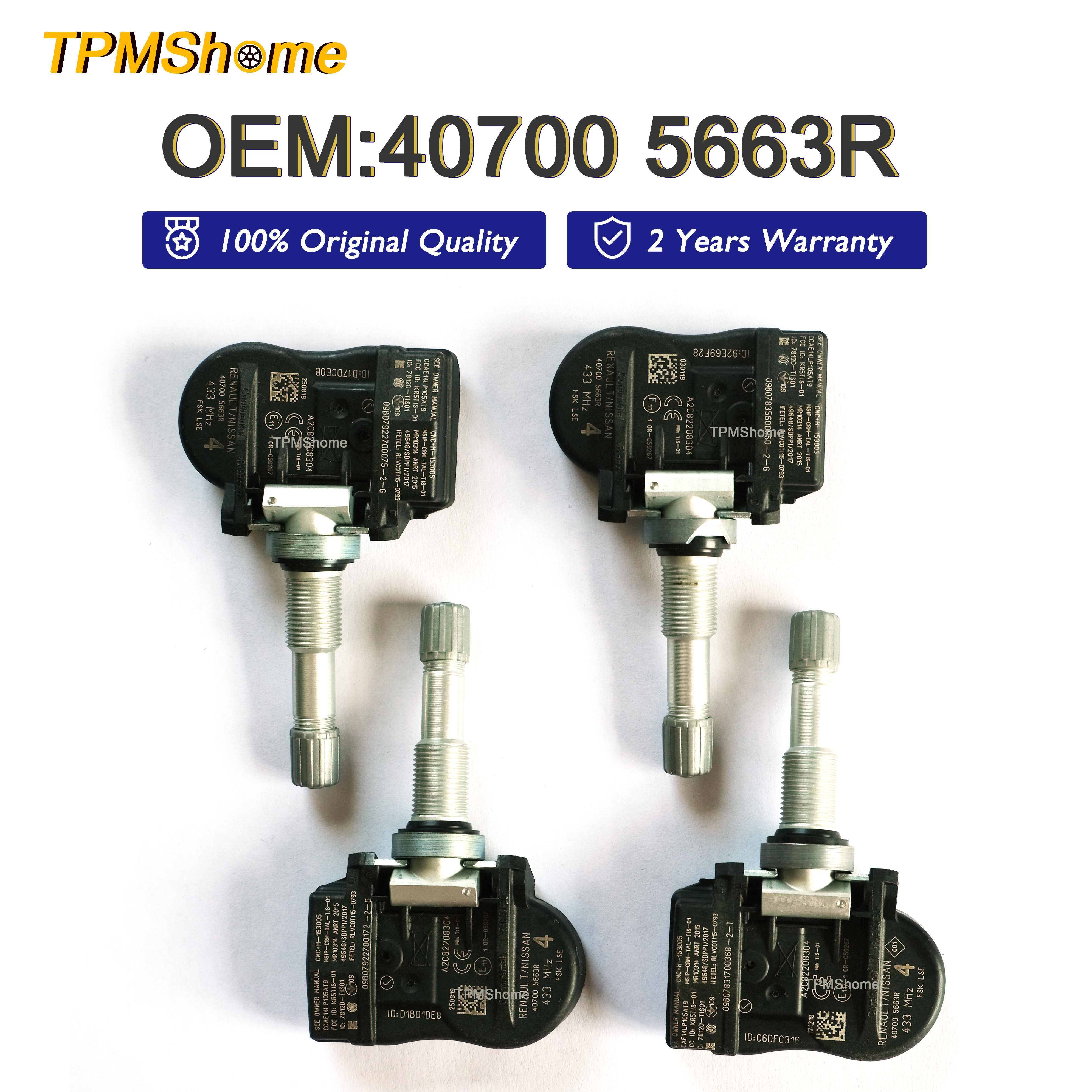 NewYall Pack of 4 TPMS Tire Pressure Monitoring System Sensor 433MHz