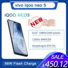 Original Vivo IQOO Neo 5 5G Smartphone Snapdragon 870 66W tablero de carga móvil Android 120Hz Pantalla AMOLED Google Play Store